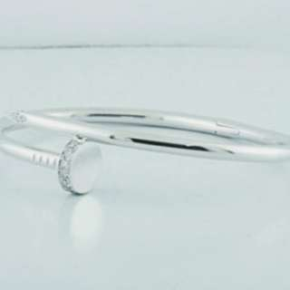 BEAUTIFUL CARTIER WHITE GOLD NAIL BANGLE WITH WHITE TOPAZ