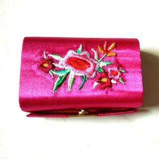 BN Pink Embroidered Double Lipstick Holder