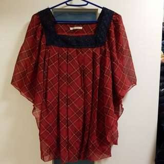 Elle planete chiffon checkers top 雪紡 格仔上衣