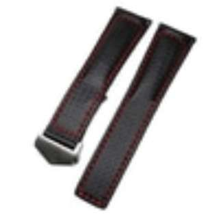 Tali Jam Kulit Hitam Black Leather Watch Strap Carbon Fiber TAG HEUER