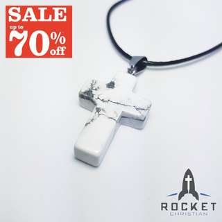 Marble White Natural Stone Cross Necklace *In Stock