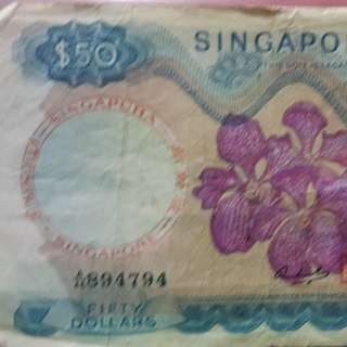 Singapore Orchid Notes $50