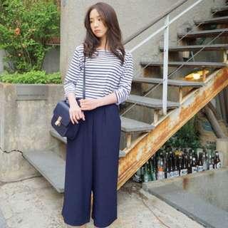 NEW! Navy Blue Women Wide Leg Chiffon Pants