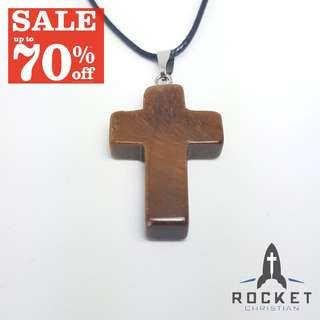 Brown Natural Stone Cross Necklace *In Stock