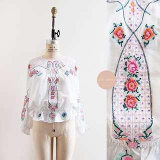 Steeple Bush Blouse | vintage inspired | white cotton cross stitch floral blouse