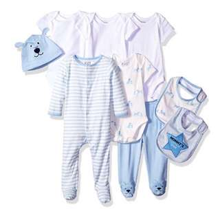 SALE 40% Off - 3-6 Mths BNWT The Children's place baby boys 9pc set (1 long sleeve sleepsuit, 4x short sleeve bodysuit, 1 covered pants, 2 bibs, 1 hat)