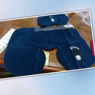 全新深藍色 充氣式頸枕+眼罩組