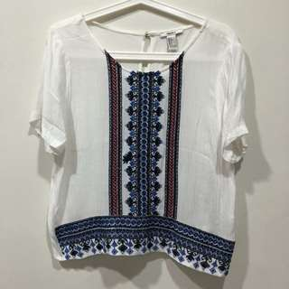 Forever 21 Boho Embroidered Top