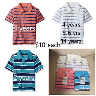 SALE 33% Off - 2/4/14 years BNWT The Children's place baby boy striped polo tee