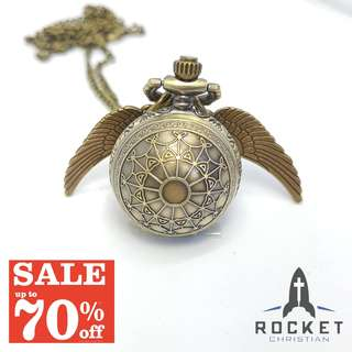 Angel Wing Antique Web Pocket Watch Necklace *In Stock