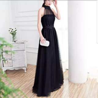 Halter neck pearl design black dress / evening gown