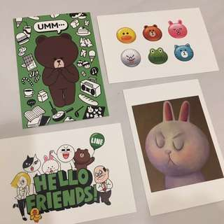 Line Friends postcards cony brown