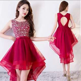 Keyhole back design red high low dress / evening gown