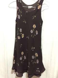 Dress Coklat Bunga Pendek