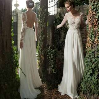 White open back design long sleeve dress / evening gown