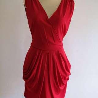 Red Dress V-Neck
