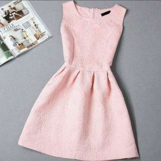 Sleeveless Light Pink Vintage Design Dress