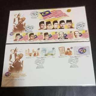 Malaysia Celebrate 50th Anniversary Kemerdekaan 1957-2007 First Day Cover Sets of 2