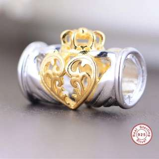 Code S95, Hollow Heart With Crown 100% 925 Sterling Silver Charm compatible With Pandora