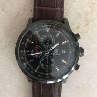 Benyar Mens leather wrist watch