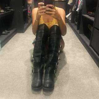 NASTY GAL | ZIGI girl leather knee high boots with buckles size 9