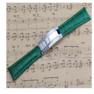 HQ Green Genuine Leather Watch Band Strap Rolex Daytona Submariner GMT