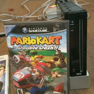 Black wii with Mario kart double dash