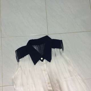 White navy buttoned up chiffon too
