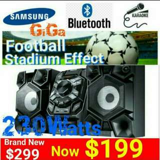 SAMSUNG GIGA 2:1 CHANNEL with STADIUM EFFECT + KARAOKE. 230RMS/(2530watts PMPO/230RMS). Usual Price: $ 299. Special Price: $199 ( Brand New In Box &  Sealed) Whatsapp 85992490 for Free Home Delivery Today.