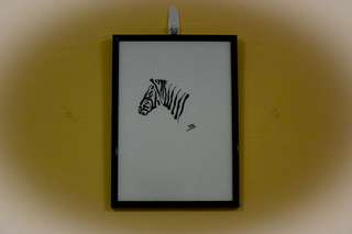 Pencil artwork of Zebra (A4 size) framed in black
