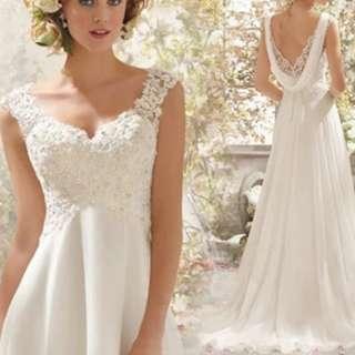 Special v back design white dress / evening gown