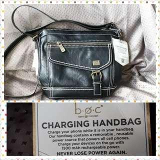 """BOC black charging """"smart"""" bag (crossbody/shoulder)"""