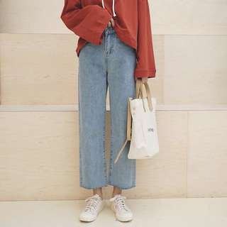 (S~5XL) Spring Korean straight jeans high waist wide leg pants