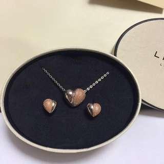 Links 純銀玫瑰金 頸鍊及耳環