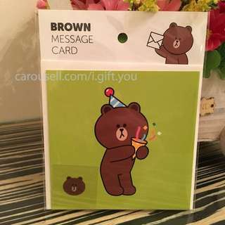 BNIP Brown Message Card Greeting Card Line Friends Characters