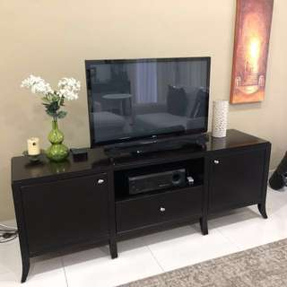 Stylish dark wood tv cabinet
