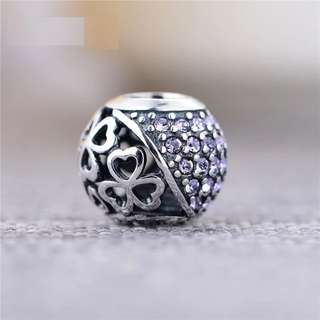 Code S245 - Half Purple Cz And Heart Holes Bead 100% 925 Sterling Silver Charm compatible with Pandora