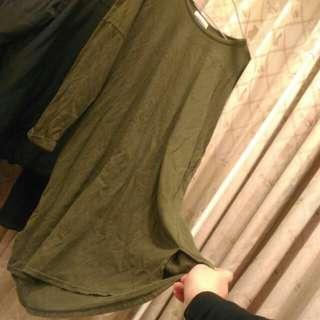 🚚 (近全新)oversize墨綠側開衩長版衣