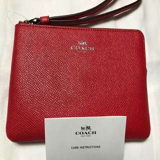 Coach 鮮紅色散紙包( L型拉鏈)