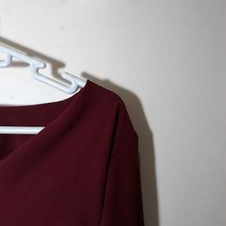 MAROON TOP WITH FLARE SLEEVES