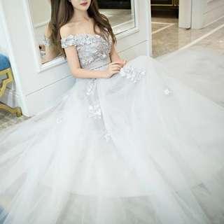 Off shoulder grey floral dress / evening gown