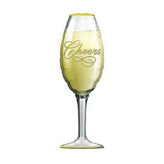 PartyHero jumbo cheers champagne glass foil balloon with helium