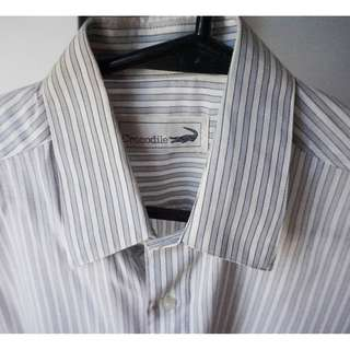 Striped Short-Sleeved Polo (Grey/White)