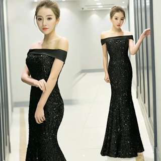 Shiny off shoulder black dress / evening gown