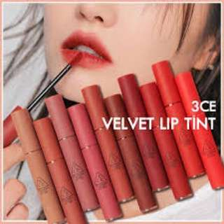 3CE Velvet Lip Tint (10 Color in stock)