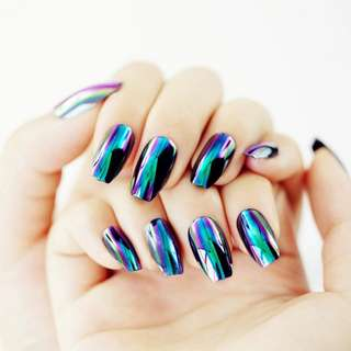 24pcs/set Color Changeable False Nails Mirror Reflective Full Cover Coffin Shaped Fake Artificial Nail Tips