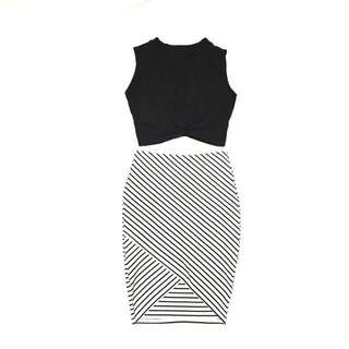 Zara Stripe Skirt & Black Crop top From SG