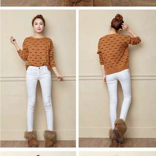 Winter thermal white jeans