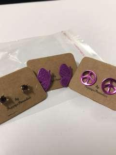 Set of 3 Purple Ear Studs