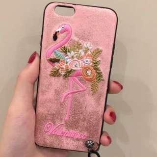 iphone閃粉刺繡火烈鳥機殼